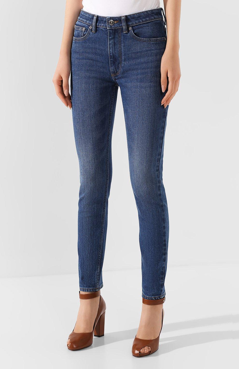 Женские джинсы BURBERRY темно-синего цвета, арт. 8025576 | Фото 3