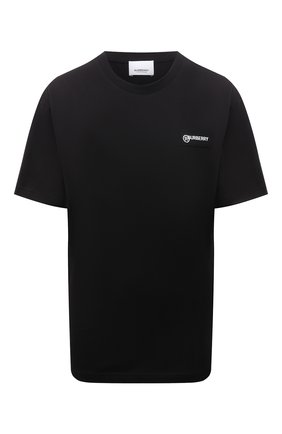 Женская хлопковая футболка BURBERRY черного цвета, арт. 8024545 | Фото 1