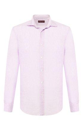 Мужская льняная рубашка RALPH LAUREN фиолетового цвета, арт. 790780933   Фото 1 (Рукава: Длинные; Длина (для топов): Стандартные; Материал внешний: Лен; Случай: Повседневный)