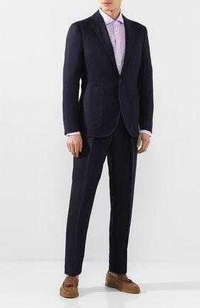 Мужская льняная рубашка RALPH LAUREN фиолетового цвета, арт. 790780933   Фото 2 (Рукава: Длинные; Длина (для топов): Стандартные; Материал внешний: Лен; Случай: Повседневный)