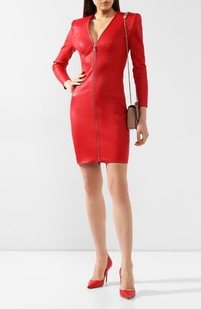 Женское кожаное платье JITROIS красного цвета, арт. R0BE VEGA FEM APS | Фото 2