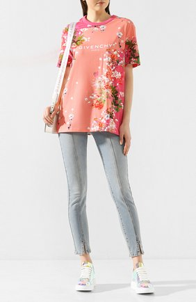 Женская хлопковая футболка GIVENCHY розового цвета, арт. BW70753Z34 | Фото 2