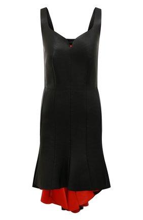 Женское кожаное платье ALEXANDER MCQUEEN черного цвета, арт. 610860/Q5AC7 | Фото 1