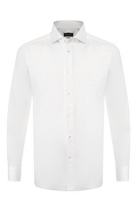 Мужская хлопковая сорочка ERMENEGILDO ZEGNA белого цвета, арт. 701222/9MS0BA | Фото 1