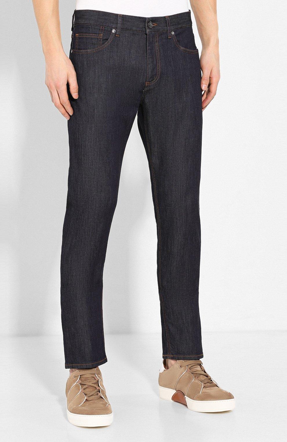 Мужские джинсы ERMENEGILDO ZEGNA темно-синего цвета, арт. UUI90/JS01 | Фото 3
