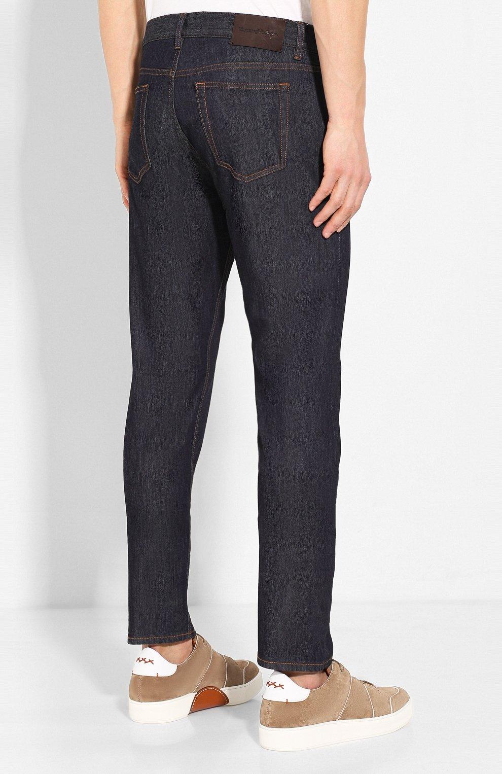 Мужские джинсы ERMENEGILDO ZEGNA темно-синего цвета, арт. UUI90/JS01 | Фото 4