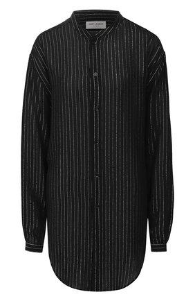 Женская рубашка из вискозы SAINT LAURENT черного цвета, арт. 605378/Y852T | Фото 1
