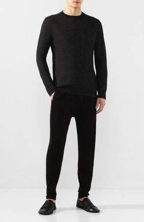 Мужской хлопковые брюки TRANSIT черного цвета, арт. CFUTRK7423   Фото 2