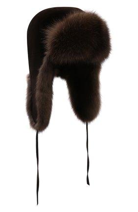 Мужская шапка-ушанка из меха норки и соболя FURLAND коричневого цвета, арт. 0090907450127600000 | Фото 1