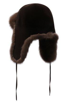 Мужская шапка-ушанка из меха норки и соболя FURLAND коричневого цвета, арт. 0090907450127600000 | Фото 2
