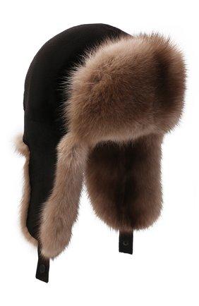 Мужская шапка-ушанка из меха норки и соболя KUSSENKOVV разноцветного цвета, арт. 320213605227 | Фото 1