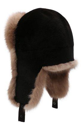 Мужская шапка-ушанка из меха норки и соболя KUSSENKOVV разноцветного цвета, арт. 320213605227 | Фото 2