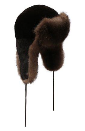 Мужская шапка-ушанка из меха норки и соболя FURLAND черного цвета, арт. 0090907410131300000 | Фото 1