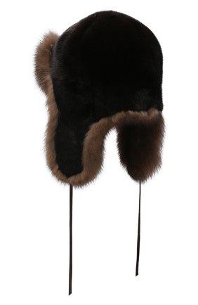 Мужская шапка-ушанка из меха норки и соболя FURLAND черного цвета, арт. 0090907410131300000 | Фото 2