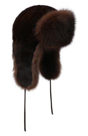 Мужская шапка-ушанка из меха норки и соболя FURLAND коричневого цвета, арт. 0090907410129300000 | Фото 1