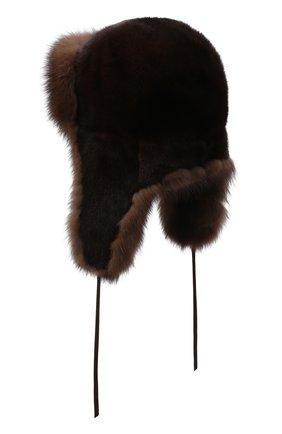Мужская шапка-ушанка из меха норки и соболя FURLAND коричневого цвета, арт. 0090907410129300000 | Фото 2