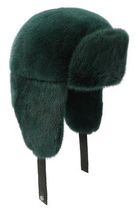Мужская шапка-ушанка из меха норки FURLAND зеленого цвета, арт. 0217500110198600000 | Фото 1