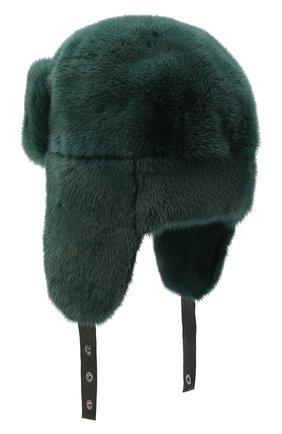 Мужская шапка-ушанка из меха норки FURLAND зеленого цвета, арт. 0217500110198600000 | Фото 2