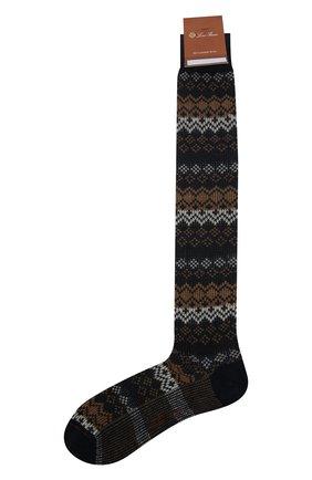 Мужские кашемировые носки LORO PIANA темно-синего цвета, арт. FAI8977 | Фото 1