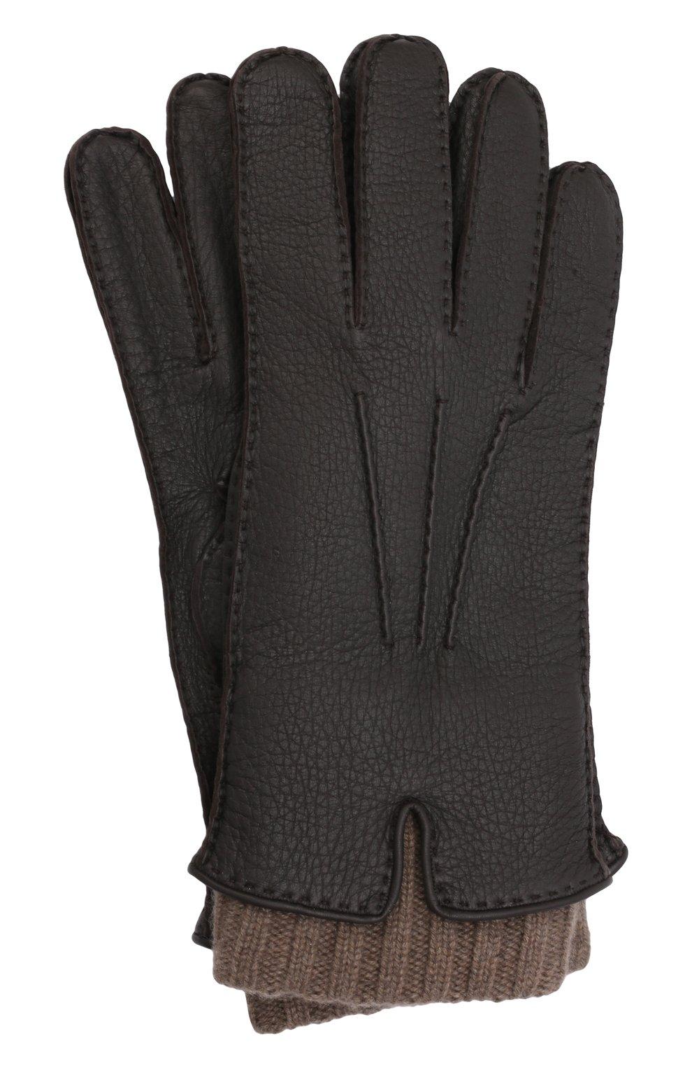 Мужские кожаные перчатки LORO PIANA темно-коричневого цвета, арт. FAG4758 | Фото 1