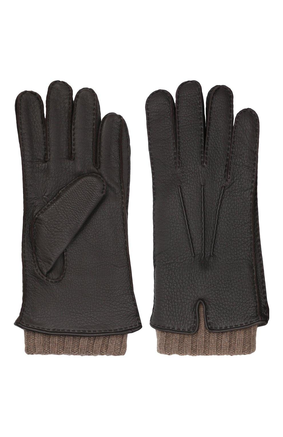 Мужские кожаные перчатки LORO PIANA темно-коричневого цвета, арт. FAG4758 | Фото 2