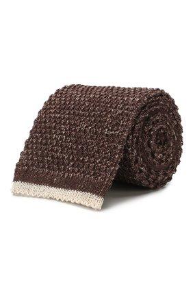 Мужской галстук из смеси хлопка и льна BRUNELLO CUCINELLI коричневого цвета, арт. MQ8560018 | Фото 1