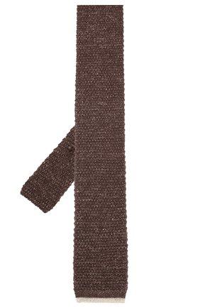 Мужской галстук из смеси хлопка и льна BRUNELLO CUCINELLI коричневого цвета, арт. MQ8560018 | Фото 2