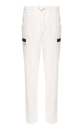 Мужской хлопковые брюки GUCCI белого цвета, арт. 604171/XDAX3 | Фото 1