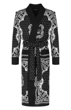 Мужской шелковый халат DOLCE & GABBANA черного цвета, арт. G014PT/FI1KV | Фото 1