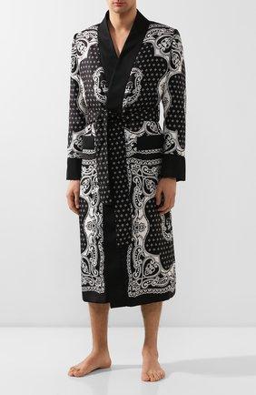 Мужской шелковый халат DOLCE & GABBANA черного цвета, арт. G014PT/FI1KV | Фото 2