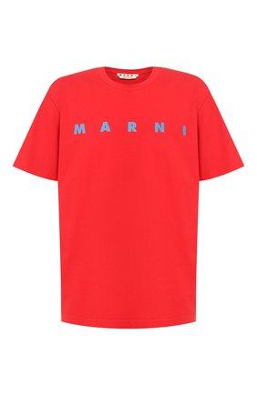 Мужская хлопковая футболка MARNI красного цвета, арт. HUMU0143P0/S22763   Фото 1