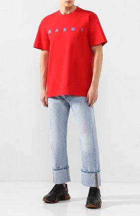 Мужская хлопковая футболка MARNI красного цвета, арт. HUMU0143P0/S22763   Фото 2