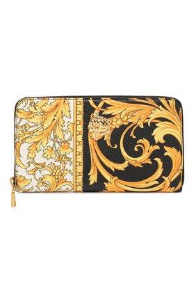 Мужской кожаное портмоне VERSACE золотого цвета, арт. DP33597/DVTG8 | Фото 1