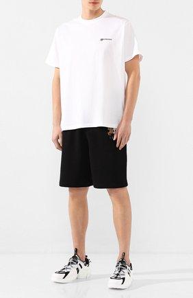 Мужская хлопковая футболка BURBERRY белого цвета, арт. 8024357 | Фото 2