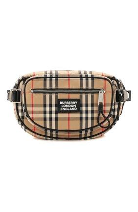 Мужская поясная сумка BURBERRY бежевого цвета, арт. 8023034 | Фото 1