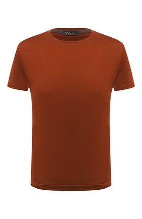Мужская футболка из шелка и хлопка LORO PIANA оранжевого цвета, арт. FAF6128 | Фото 1