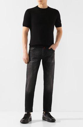 Мужской хлопковый джемпер FIORONI черного цвета, арт. MK20260A2 | Фото 2