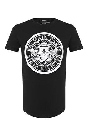 Мужская хлопковая футболка BALMAIN черного цвета, арт. TH11135/I216 | Фото 1