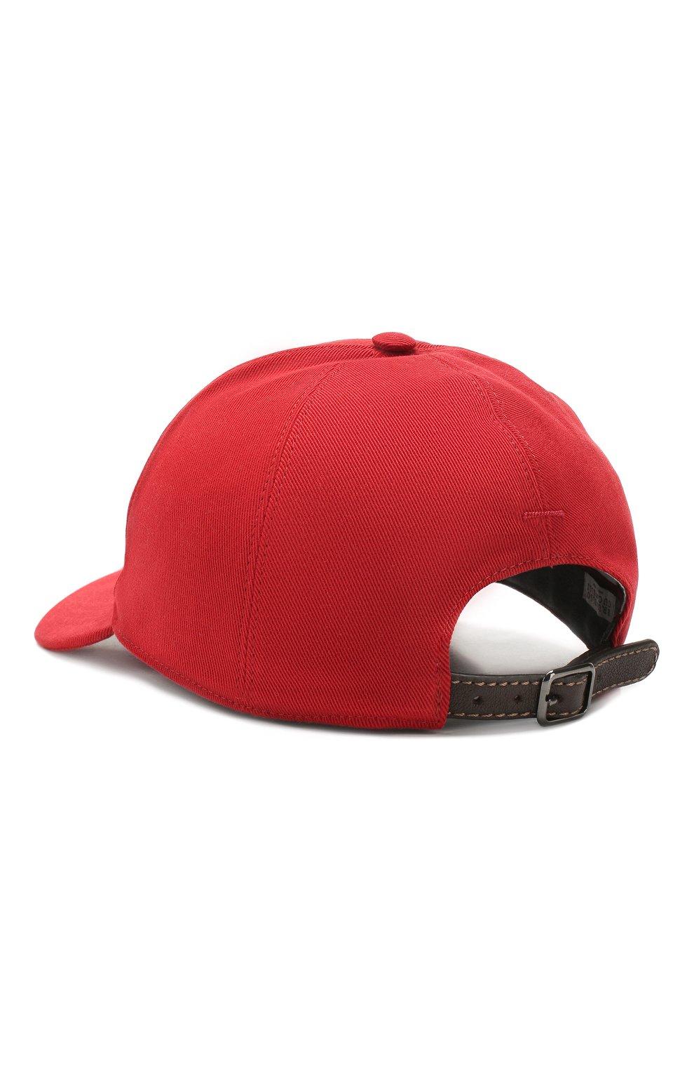 Мужской хлопковая бейсболка BRUNELLO CUCINELLI красного цвета, арт. MQ8559978 | Фото 2