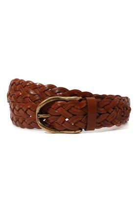 Мужской кожаный ремень BRUNELLO CUCINELLI коричневого цвета, арт. MAUFC347 | Фото 1