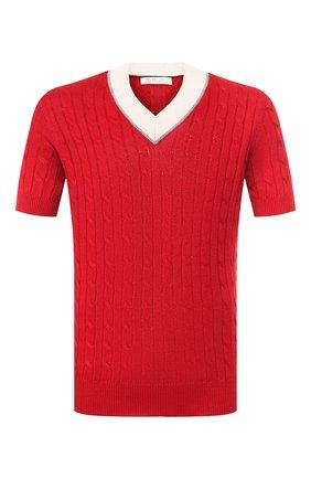 Мужской пуловер с короткими рукавами BRUNELLO CUCINELLI красного цвета, арт. M2L79032 | Фото 1