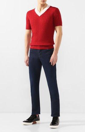 Мужской пуловер с короткими рукавами BRUNELLO CUCINELLI красного цвета, арт. M2L79032 | Фото 2