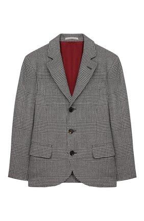 Детский шерстяной пиджак BRUNELLO CUCINELLI серого цвета, арт. BN4647BTDB | Фото 1