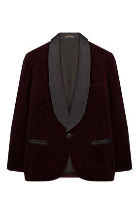 Детский хлопковый пиджак BRUNELLO CUCINELLI бордового цвета, арт. BL463GS04C | Фото 1
