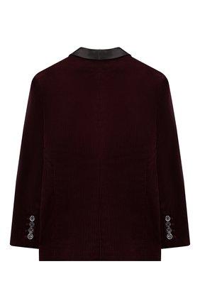 Детский хлопковый пиджак BRUNELLO CUCINELLI бордового цвета, арт. BL463GS04C | Фото 2