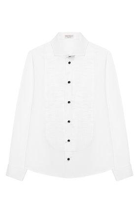 Детская хлопковая рубашка BRUNELLO CUCINELLI белого цвета, арт. BC624S1886 | Фото 1