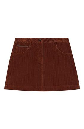 Детская вельветовая юбка BRUNELLO CUCINELLI темно-коричневого цвета, арт. BC121G2882 | Фото 1