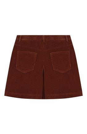 Детская вельветовая юбка BRUNELLO CUCINELLI темно-коричневого цвета, арт. BC121G2882 | Фото 2