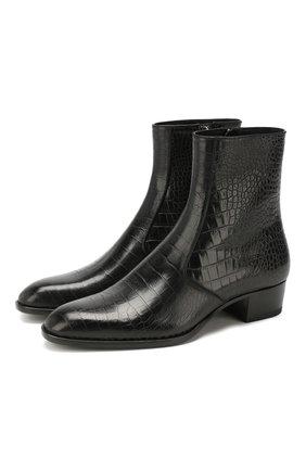 Мужские кожаные сапоги SAINT LAURENT черного цвета, арт. 549291/06A00 | Фото 1