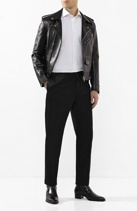 Мужские кожаные сапоги SAINT LAURENT черного цвета, арт. 549291/06A00 | Фото 2